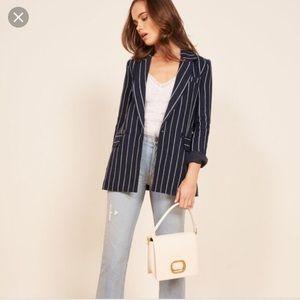 Reformation Sz XL Verano Blazer Oversize Pinstripe